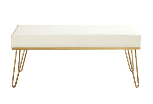 Iconic Home Bench PU Leather Upholstered Brass Finished Frame Hairpin Legs, Cream