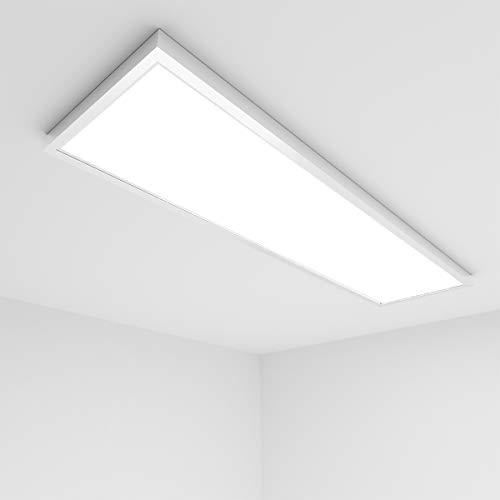 Vkele LED Panel Deckenleuchte 120x30cm Warmweiß 3000K, 48W, 4500 Lumen, Weißrahmen, Panelleuchte, Deckenlampe, Büroleuchten mit Montagerahmen Aufbaurahmen Weiß für Schlafzimmer, Büro etc