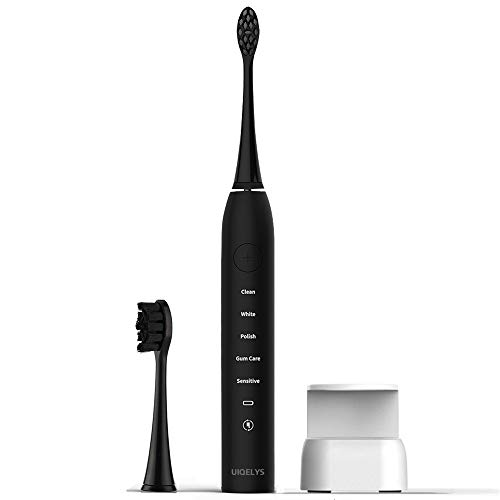 Electric Toothbrush, UIQELYS Sonic Wireless Rechargeable Electrical Powered Toothbrush with Automatic Timer,4 Optional Modes,IPX7 Waterproof with2 Replacement Brush Heads for Woman and Man(White)