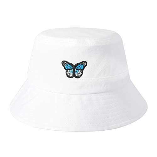 ZLYC Unisex Fashion Embroidered Bucket Hat Summer Fisherman Cap for Men Women Teens (Butterfly Pure White)