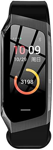 E18 Smart-Armband Herzfrequenz-Test Blut Pressure Test Sport-Armband-Farbbildschirm Übung Spur Schritt Wasserdicht aycpg (Color : Black)
