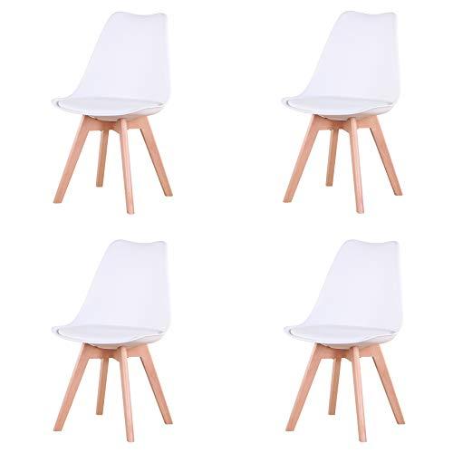 4er Set stühle Esszimmerstühle mit Massivholz Buche Bein, Retro Design Gepolsterter Stuhl Küchenstuhl Holz (White(Weiß)-4)
