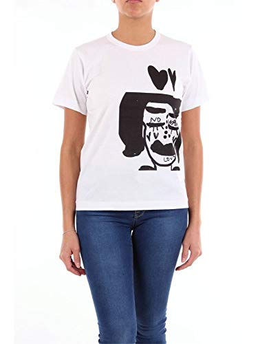 Comme des Garçons Luxury Fashion Damen GDT04205111BIANCOENERO Weiss/schwarz Baumwolle T-Shirt | Jahreszeit Outlet