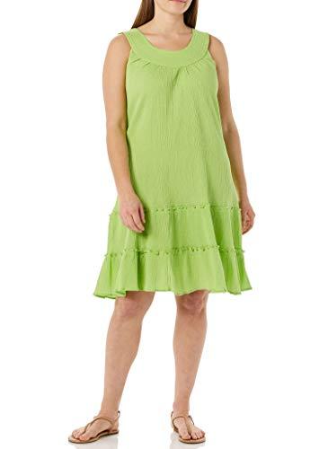 AmeriMark Crinkle Gauze Casual Summer Sleeveless Slipover Sundress Lime 2X