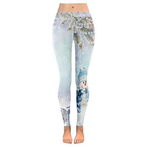QUEMIN Pantalones de Yoga para Mujer, Leggings elásticos Capri elásticos con muñeco de Nieve de Navidad Personalizados para Yoga, Correr, Pilates, Gimnasio L