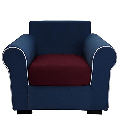 THJ Funda de cojín de terciopelo elástico antideslizante para sofá, fundas de asiento de sofá extraíbles con parte inferior elástica lavable, protector de muebles, color rojo