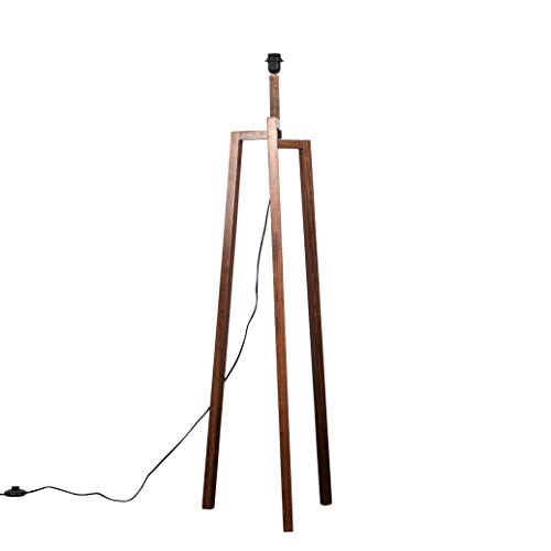Modern Dark Wooden Tripod Style Step Design Floor Lamp Base