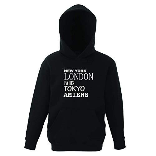 JOllify AMIENS Kinder Pullover Pulli Hoodie - Design: New York, London, Paris, Tokyo - Größe: 164-14-15 Jahre