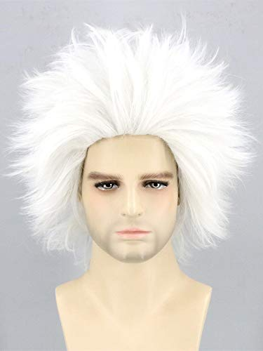 Lemarnia Mad Scientist Wig Ursula Wig Short White Cosplay Wigs for Halloween Costume
