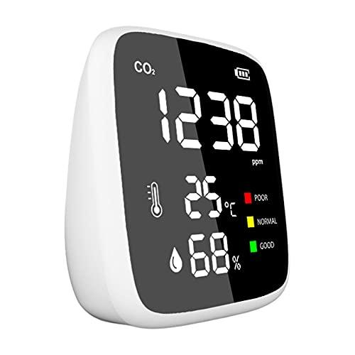 Monitor de calidad del aire interior, detector de CO2, detector de dióxido de carbono con medidor de temperatura, sensor profesional de humedad, lectura en tiempo real para dormitorio, oficina