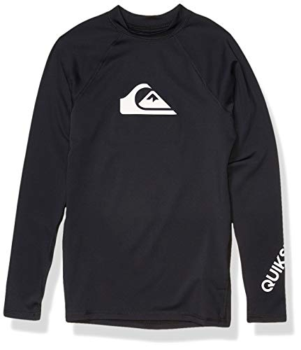Quiksilver Boys' Big Time Long Sleeve Youth Rashguard Surf Shirt, Black, S/10