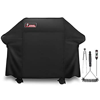 Kingkong Gas Grill Cover 7553 | 7107 Cover for Weber Genesis E and S Series Gas Grills Includes Grill Brush Tongs and Thermometer