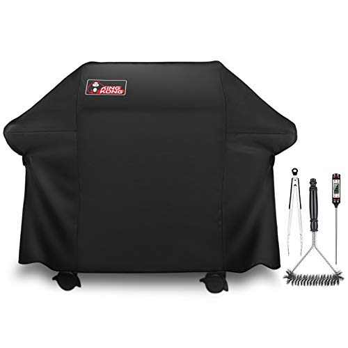 Kingkong Gas Grill Cover Includes Grill Brush, Tongs and Thermometer