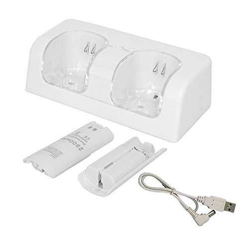 Ladegerät für Wii, Wii-Ladestation Ladestation mit zwei LED-Leuchten und 2 wiederaufladbaren Batterien für Wii/Wii-Fernbedienung (weiß)