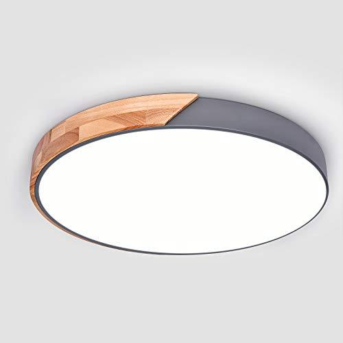 EDISLIVE LED Lámpara de techo madera luz de techo Dimmable Iluminación Dormitorio Sala de estar Lámpara de techo de montaje empotrado (Gris, 50cm)