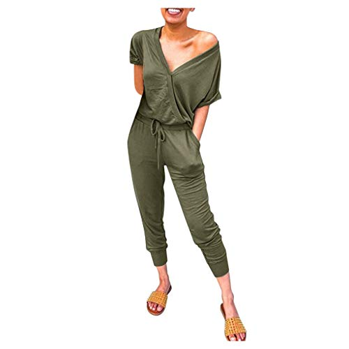 Buy Toimothcn Womens Sexy Deep V Neck Short Sleeve Wrap Drawstring Waist Jumpsuit Romper with Pocket...