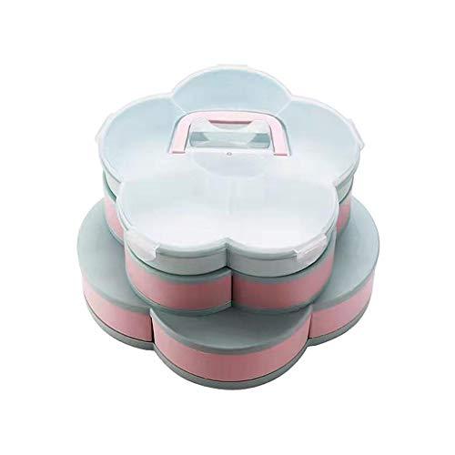 Caja de aperitivos giratoria de pétalos de plástico con compartimentos de dulces y nueces, organizador de almacenamiento de frutas secas para - Capa de 3 azul