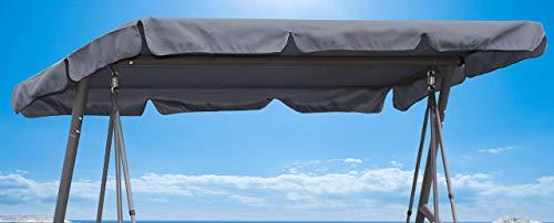 QUICK STAR Ersatzdach Gartenschaukel Universal 145x210 cm Hollywoodschaukel 3 Sitzer Grau UV 50 Ersatz Bezug Sonnendach Schaukel Dach