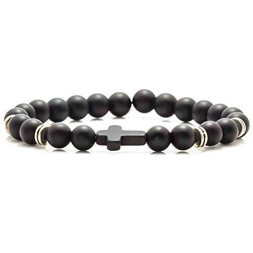 Xusamss Fashion Alloy Cross 8MM Beads Bracelet Bangle,7.5inches