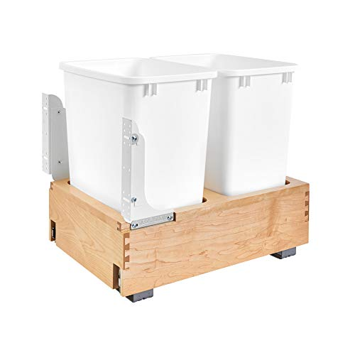 Rev-A-Shelf 4WC-18DM2 Double 35-Quart Maple Bottom Mount Pullout Waste Container System with Wood Frame, 2 Containers and Mounting Hardware