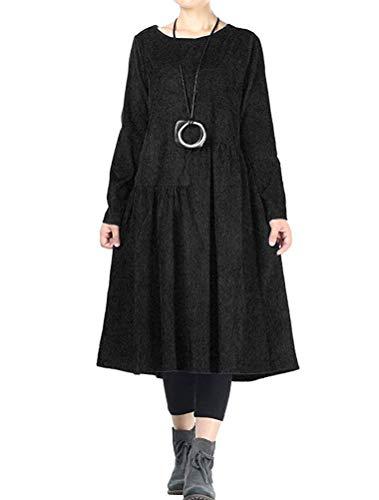 Mallimoda Damen Rundhals Langarm Kleider Corduroy Oversize Pullover Kleid (XXL, Schwarz)