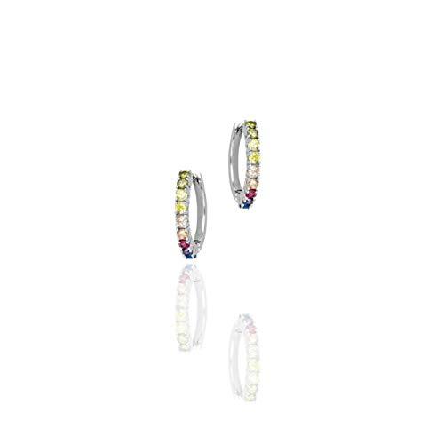 Together Jewels - Pendientes de aro de plata 925 con grilletes multicolor   Pendientes de mujer de alta calidad   Certificado de garantía y autenticidad