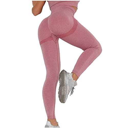 Julhold Pantalones de yoga para mujeres de cintura alta sólida, leggings de gimnasio para mujeres de otoño y verano, deportes de correr mallas, Vino, S