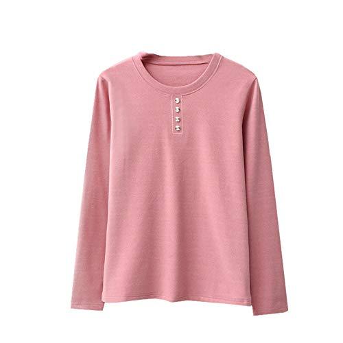 Herbst und Winter warme Unterwäsche Damen Plüsch Rundhals-Ausschnitt Unterhemd groß einfarbig Gr....