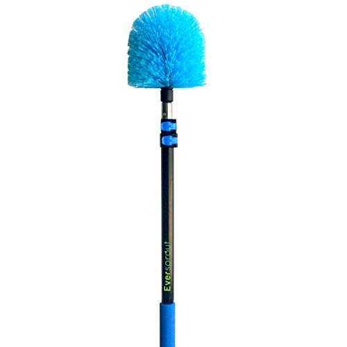 EVERSPROUT 7-to-19 Foot Cobweb Duster and Extension-Pole Combo (25 Foot Reach, Soft Bristles) | Hand Packaged | Lightweight, 3-Stage Aluminum Pole | Indoor & Outdoor Use Brush Attachment