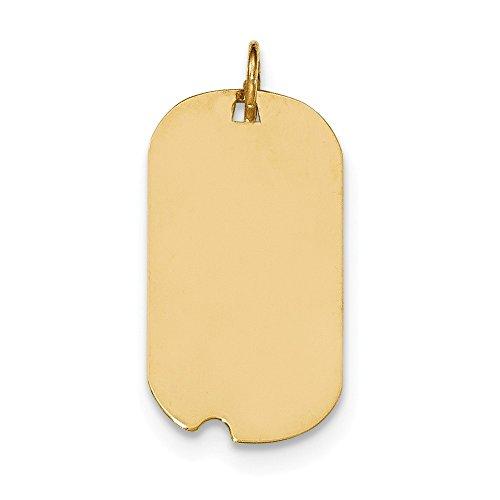 Diamond2Deal da donna in oro giallo 14K Plain .009gauge Engraveable Dog tag W notch Disc Pendant