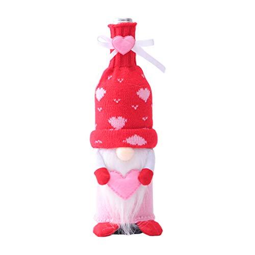 YU-HELLO _San Valentín Gnomo sueco champán botella de vino cubierta bolsa decoración de fiesta familiar