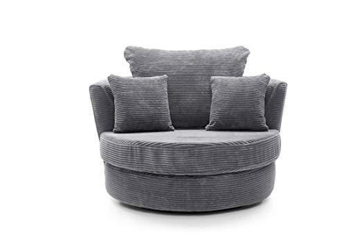 Abakus Direct Ferguson Corner Sofa in Grey Jumbo Cord Chenille Fabric (Swivel Chair)