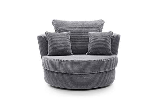 Abakus Direct Ferguson Corner Sofa in Grey Jumbo Cord Chenille Fabric (Swivel Chair)