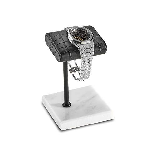 Handgefertigter Uhrenständer aus Leder und Marmor für Rolex, Omega, Patek Philippe, Audemars Piguet, Richard Mille, Breitling, Tudor, Cartier, Tag Heuer Krokodil/Schwarz/Weiß