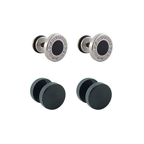 Piercing Deni 4 dilataciones falsas de acero 2 negras y 2 dibujo greca 10mm