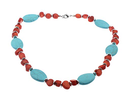 TreasureBay Natural Red Coral and Blue Turquoise Gemstone Necklace, Womens Gemstone Necklace