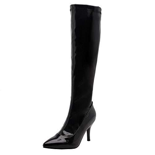 Zanpa Damen Mode Stiletto Absatz Lange Stiefel Abend Abschlussball Tanzen Stiefel Kniehoch Winterschuhe Hohe Stiefel Heels Lack Black Size 41