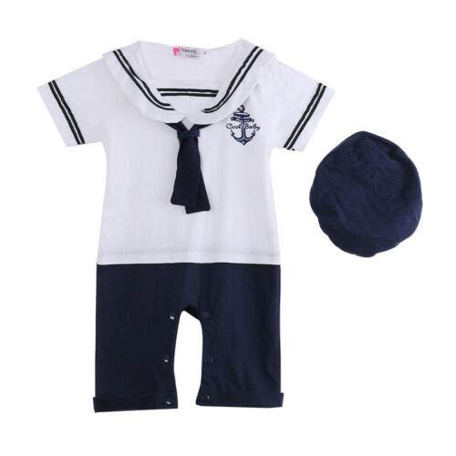 Geagodelia Pijama de bebé de verano con gorro, vestido de marinero para niños de 0 a 24 meses, 2 piezas, para cosplay, fiesta de bebé, niño, de manga corta blanco 12-18 Meses