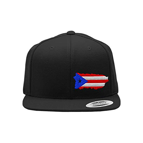 Snapback Flat Bill Left Side Panel Puerto Rico Map Flag Embroidery Hats for Men & Women Acrylic Black