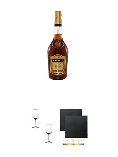 Martell VS Fine de Cognac Frankreich 0,7 Liter + Nosing Gläser Kelchglas Bugatti mit Eichstrich 2cl und 4cl - 2 Stück + Schiefer Glasuntersetzer eckig ca. 9,5 cm Ø 2 Stück