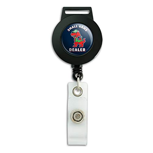 Small Arms Dealer T-Rex Card Poker Funny Humor Lanyard Retractable Reel Badge ID Card Holder