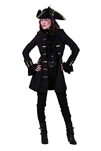 shoperama Deluxe Damen Gehrock Jane Alday Mantel für Piratin Schwarz/Gold Kostüm-Zubehör Freibeuterin, Größe:XXL