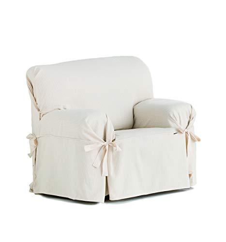 Eysa Bianca - Funda de sofa con lazos delanteros y traseros, 100% algodón, Crudo, Una Plaza