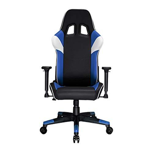 Silla ergonómica para juegos en casa y oficina ajustable con respaldo alto giratorio de cuero de la PU, escritorio y silla para juegos, silla para juegos, silla de oficina, color azul