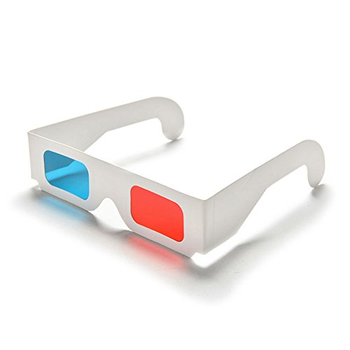 MeterMall Electronics for 50/100 Pcs Universal Paper Anaglyph 3D Glasses Paper 3D Glasses View Anaglyph Red/Blue 3D Glass for Movie Video 100pcs