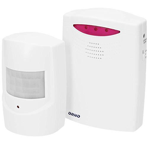 ORNO MA-705 Drahtlose Bewegungsmelder mit Alarm, Reichtweite 120m, IP44 Wasserdicht || 1 Bewegungsmelder inklusive