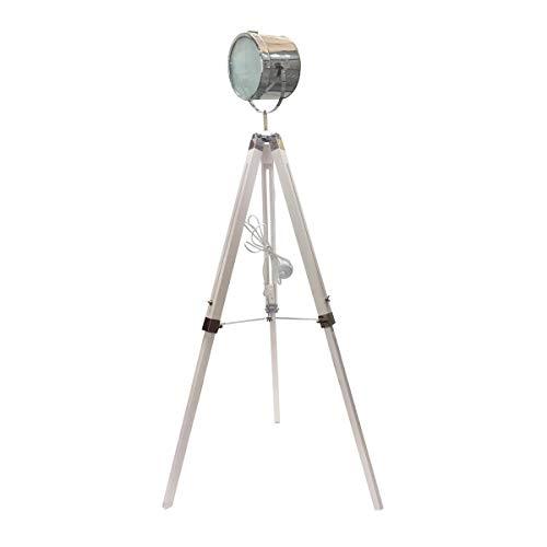 marque Atmosphera, créateur d'intérieur Lampadaire Industriel métal et Bois EBOR H150 Blanc
