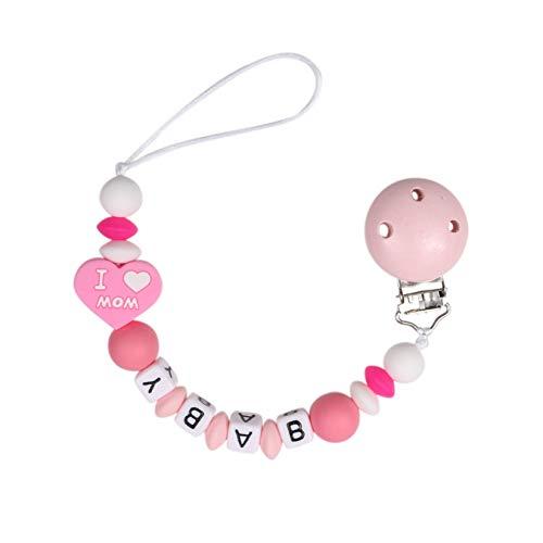 MJL Baby Schnullerkette Silikon Schnuller Clips Silikonperlen Perlen Beißring Zahnen Baby Dummy Clips Halter Mädchen Jungs Schnullerhalter Spielzeug #1 27cm