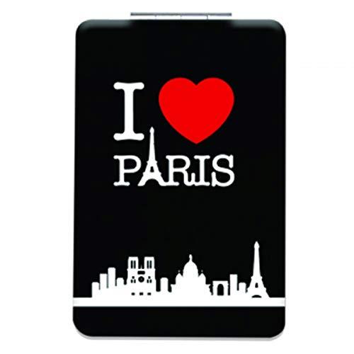 Les Trésors De Lily [Q3105] - Miroir de poche 'I love Paris' noir - 8.5x5.5 cm