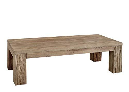 Table basse 160x80cm - Bois massif recyclé de teck brut - Aspect naturel et rustique - BASSANO